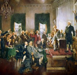 Image of George Washington and other colonialists