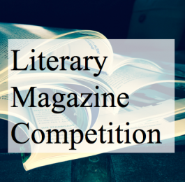 "Lit Mag Logo of a stack of open books with ""Literary Magazine Competition"" as an overlay"