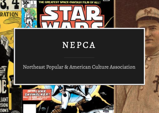 "The NEPCA logo, white writing of ""NEPCA"" atop a black background with various items of Americana in the background."